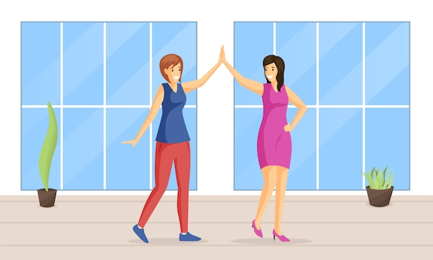 Smiling women giving high five flat illustration. pair dance, entertainment, leisure together, positive emotions. female friends holding hands, happy girls cartoon characters