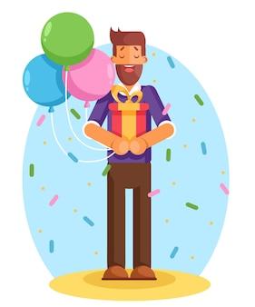 プレゼントとして大きなリボンとギフトボックスを保持している若い男を笑顔モダンなフラットスタイルのイラスト