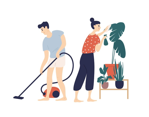 Smiling young man and woman cleaning house together. boy vacuuming floor at home and girl taking care of plant. everyday activity of cute funny romantic couple.
