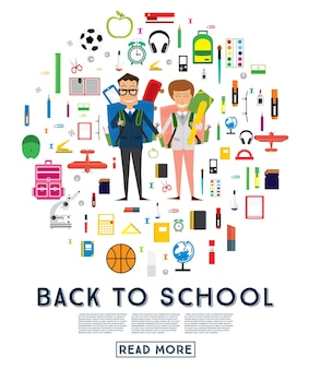 Улыбающийся молодой школьник и девочка в форме с рюкзаком и принадлежностями. векторные иллюстрации. снова в школу концепции.