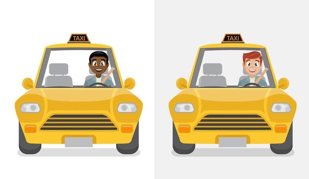 Улыбающийся молодой таксист в своей машине.