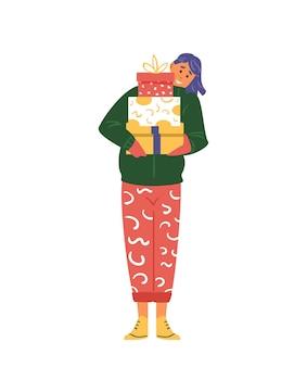 크리스마스 선물 상자를 들고 웃는 젊은 여자. 평면 벡터 일러스트 레이 션. 화이트에 격리.