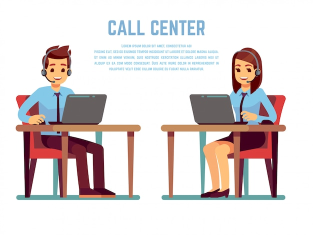 Smiling young woman and man operator with headset talking with customer. cartoon characters for call center