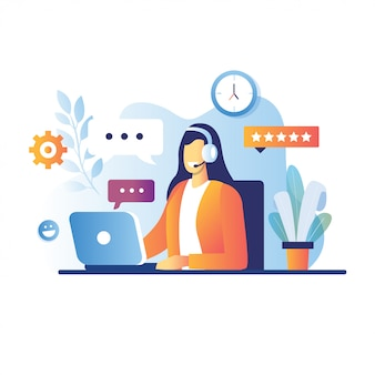 Smiling young woman operator with headset talking with customer. cartoon characters for call center concept.  support service, online telephone consultant illustration