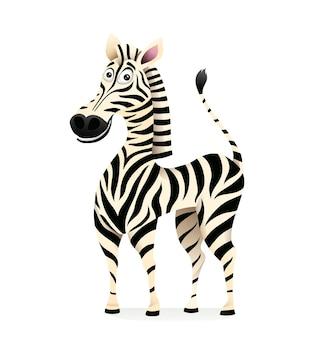 笑顔のシマウマ3d分離クリップアート漫画デザイン。子供のためのアフリカのサファリ動物のマスコット、陽気な縞模様の黒と白のシマウマが立っています。子供のためのイラスト。