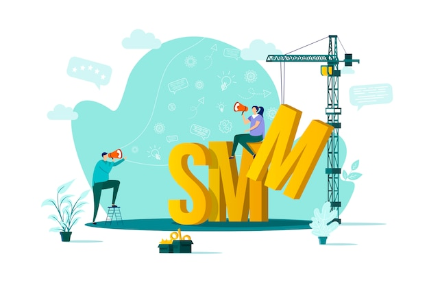 Smm concept in  style with people characters in situation