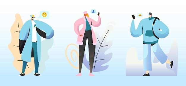 Smm 개념. 소셜 네트워크에서 채팅하는 젊은이 캐릭터. 만화 평면 그림