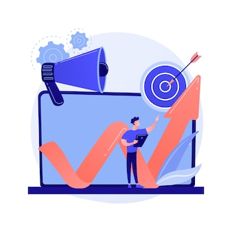 Smm, promozione su internet, pubblicità online. annuncio, ricerca di mercato, crescita delle vendite. marketer con personaggio dei cartoni animati di laptop e altoparlante.