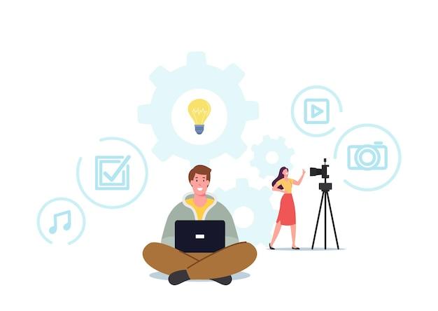 Smmマネージャーまたはブロガーキャラクターがインターネット用の広告投稿を作成します。ブログ、記事の執筆、コンテンツ作成の概念。デジタルマーケティング担当者、コピーライター、ライター、フリーランサー。漫画の人々のベクトル図