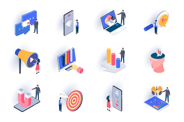 Smm marketing isometric icons set. trend watching, analysis and optimization, targeting advertising flat illustration. social media marketing 3d isometry pictograms with people characters.