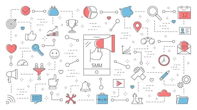 Smmまたはソーシャルメディアマーケティングの概念図。インターネットでのビジネスの宣伝と広告。お客様とのコミュニケーション。線図