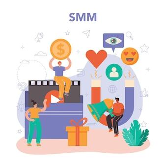 Smm social media marketing concept advertising of business