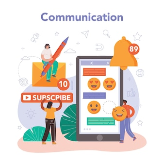Smm social media marketing concept. isolated flat illustration