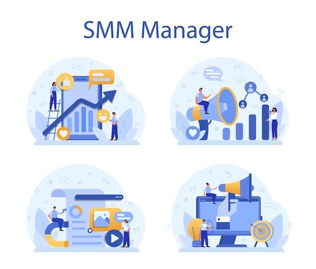Smm social media marketing concept set