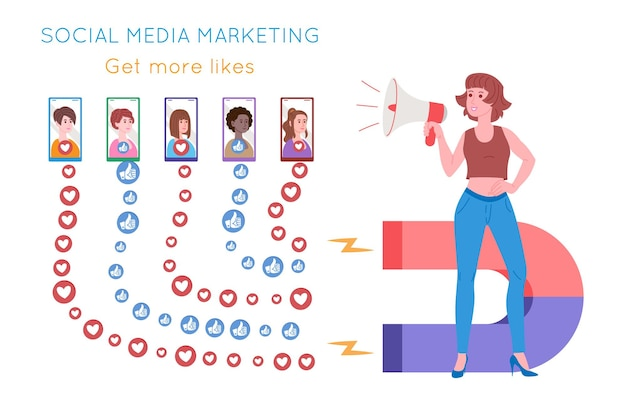 Smm, social media marketing, digital promotion on the internet, social network. smm agency banner. woman attracts hearts and likes with a magnet. cartoon vector illustration for advertising services.