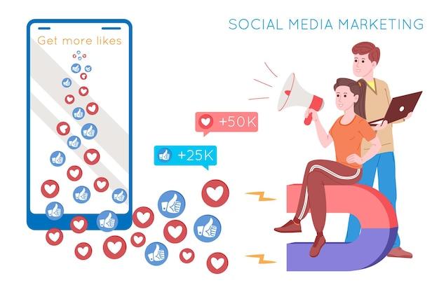 Smm、ソーシャルメディアマーケティング、インターネット上のデジタルプロモーション、ソーシャルネットワーク。 smmエージェンシーバナー。女性と男性は磁石で心を惹きつけ、好きです。広告のための漫画のベクトルイラスト。