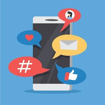 Иллюстрация маркетинга в социальных сетях smm