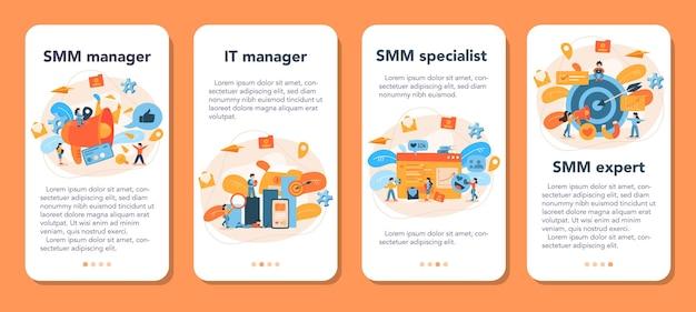 Набор баннеров мобильного приложения smm для маркетинга в социальных сетях