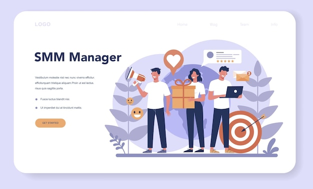 Smm social media marketing web banner or landing page. advertising of business in the internet through social network. like and share content.