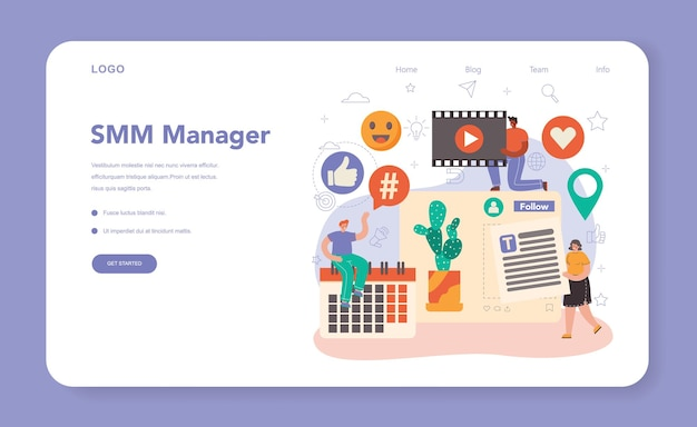 Smm social media marketing web banner or landing page. advertising of business in the internet through social network. like and share viral content. isolated flat illustration