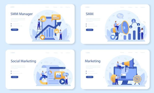 Smm social media marketing web banner or landing page set.