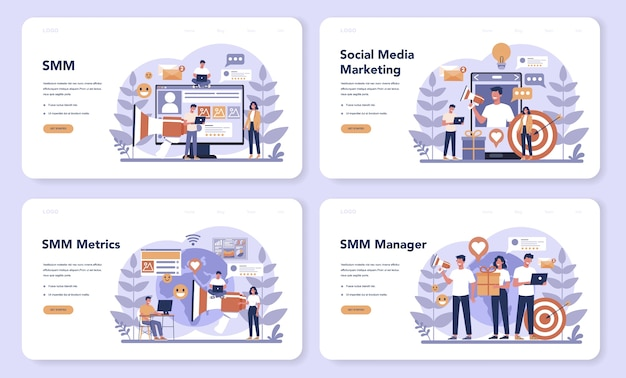 Smm social media marketing web landing page set. advertising of business in the internet through social network. like and share content. isolated flat illustration