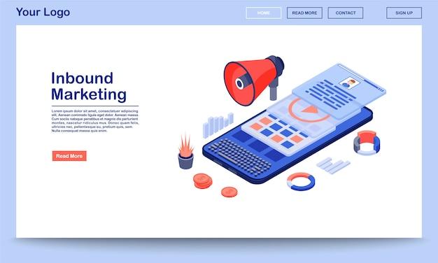 インバウンドマーケティングのランディングページテンプレート。フラットのイラストとメディア広告のウェブサイトのインターフェイス。 smm、モバイルマーケティングコンテンツのホームページレイアウト。