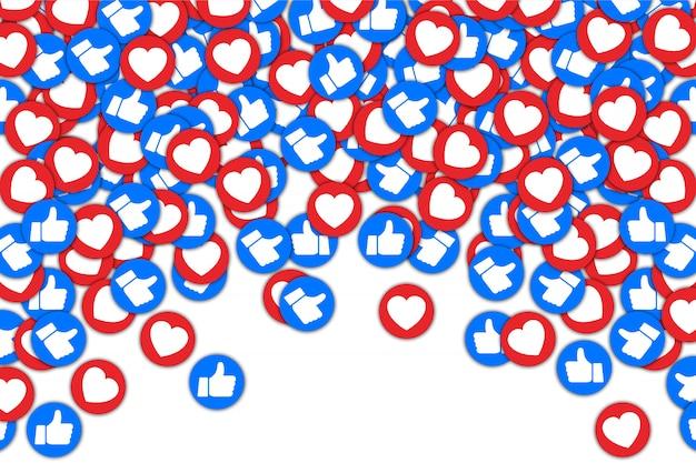 Социальные кнопки большой палец вверх, как и красный фон сердца. социальные медиа любят падать фон для рекламы, продвижения, маркетинга, интернета, smm, генерального директора