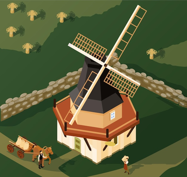 Smock mill in countryside isometric illustration