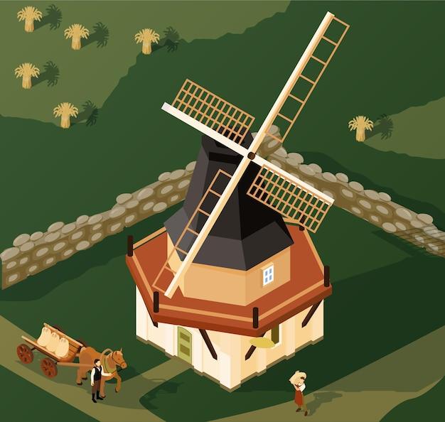 Шатровая мельница в сельской местности изометрической иллюстрации