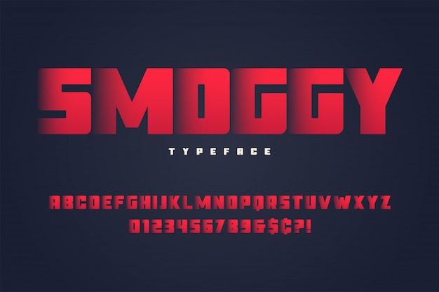 Smoggy heavy display font design, alphabet, typeface, letters and numbers