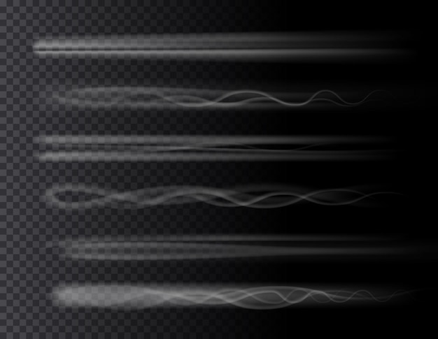 Smoke air trail set isolated d effects on transparent background rocket plane jet or airplane