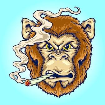 작업 로고, 마스코트 상품 티셔츠, 스티커 및 라벨 디자인, 포스터, 인사말 카드 광고 비즈니스 회사 또는 브랜드에 대한 화난 원숭이 벡터 삽화를 연기합니다.