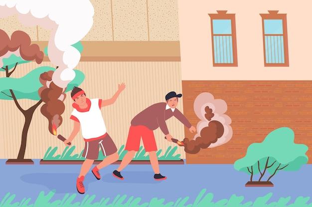 Плоская композиция хулигана дымовой бомбы с закоулками и двумя персонажами-подростками, зажигающими огонь, иллюстрация