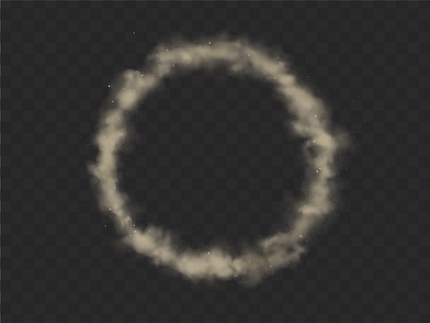 Smoke circle frame, round smog cloud