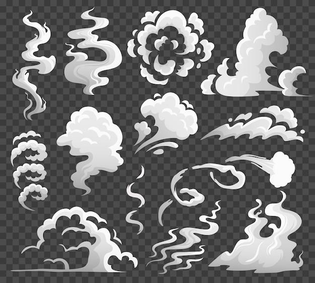 연기 구름. 만화 증기 구름, 에디 및 증기 흐름. 먼지 구름 고립 된 만화 일러스트 레이 션