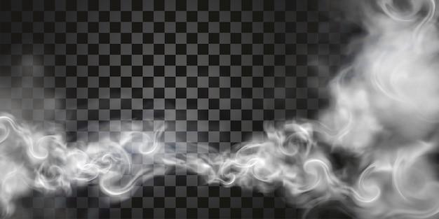 Дым парит в воздухе в 3d иллюстрации на прозрачном фоне