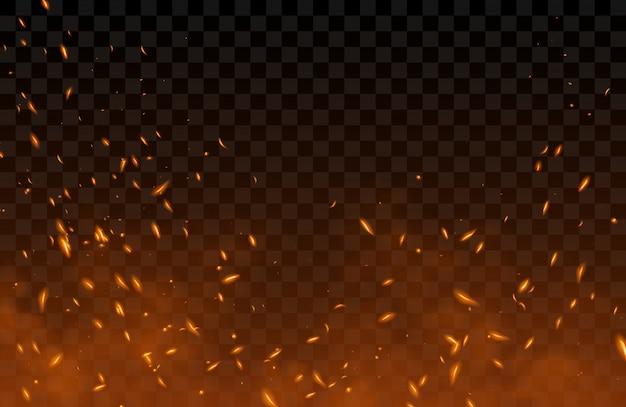 Fumo, volando scintille e particelle di fuoco