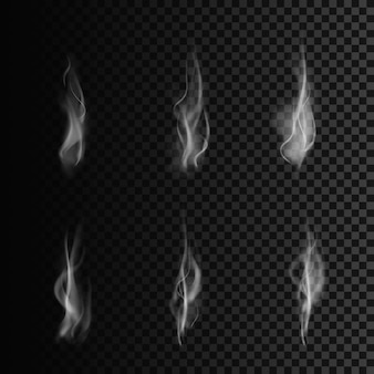 煙の形。煙のセット。透明な背景のイラスト