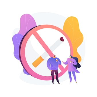 煙のないゾーンの標識。禁煙エリア、公共スペースの禁止、警告記号。煙のない場所でコーヒーを飲む人。タバコは通知を禁止しました。