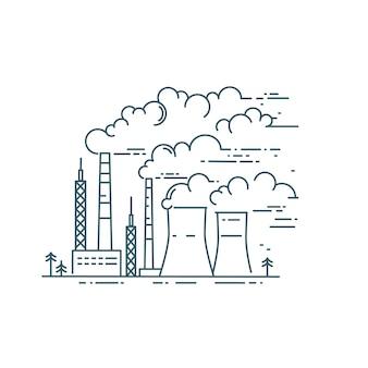 Дым от промышленных труб. опасный город загрязнения воздуха вектор линейной иллюстрации. изменение климата. охрана окружающей среды, экология.