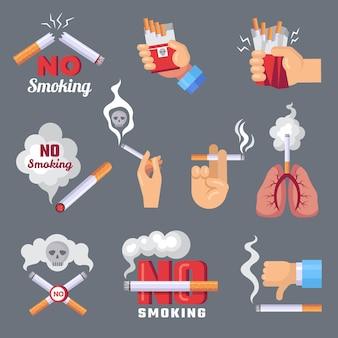Значок дыма. легкие и проблема вдыхания сигаретного дыма и опасные векторные плоские концептуальные изображения. запрет курить сигарету, курить табак