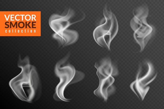 Smoke isolated. white smoking clouds hot food steam hookah tea coffee smoke steaming texture on black background Premium Vector