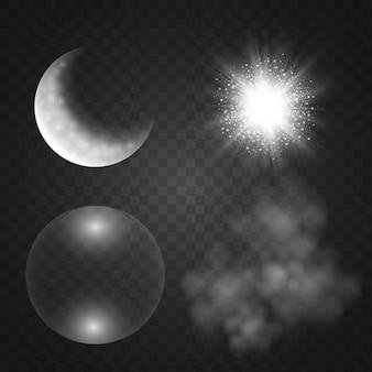 연기, 달, 비누 거품, 투명 배경에 조명 효과. 삽화.
