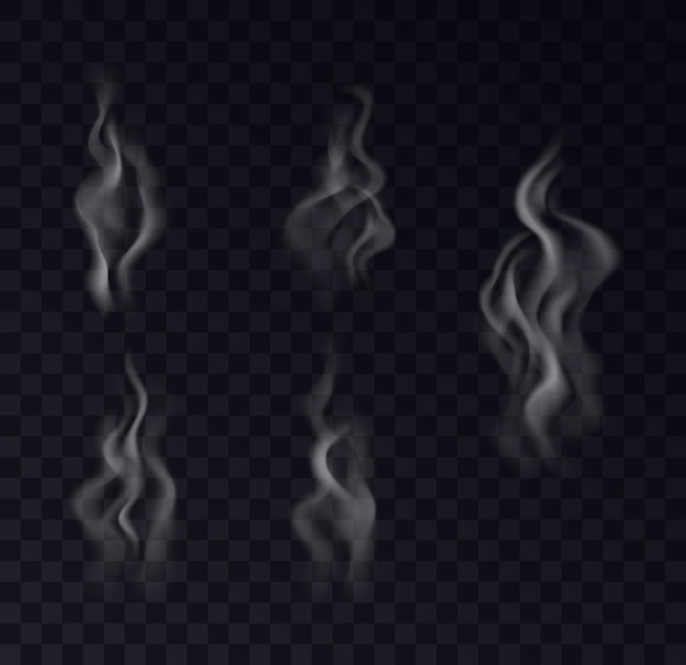 Smoke realistic collection on transparent background. set of white vapor steam, waves from coffee, tea, cigarettes, hot food. 3d fog and mist effect. vector illustration