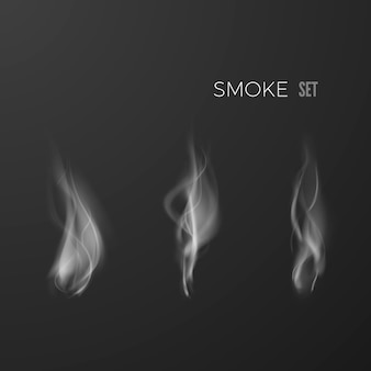 Набор дыма, изолированные на темном фоне. шаблон формы дыма. цифровая дымовая волна. иллюстрация
