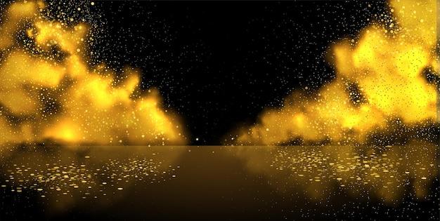 Предпосылка вектора сцены дыма. абстрактный золотой туман