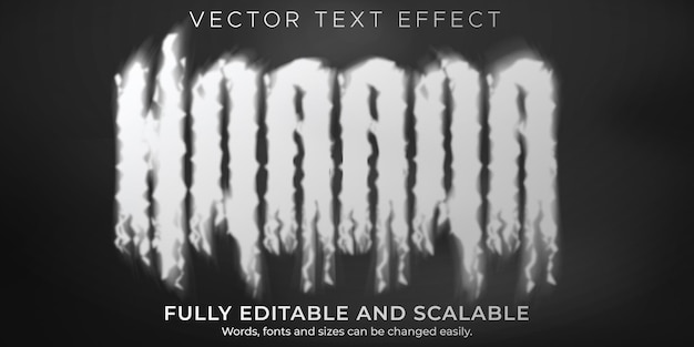 Smoke text effect, editable horror and fog text style