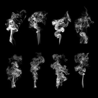 白のリアルなデザインセットで、テクスチャ要素ベクトルを煙します。