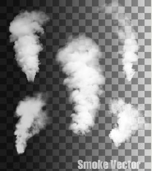 透明な背景の上の煙のベクトル。